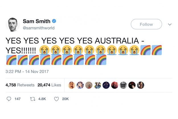 Sam Smith was delighted with the marriage equality vote news