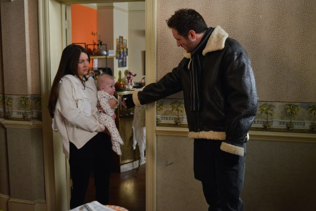 WARNING: Embargoed for publication until 00:00:01 on 30/01/2018 - Programme Name: EastEnders -January-April 2018 - TX: 08/02/2018 - Episode: EastEnders - January-April 2018 - 5652 (No. 5652) - Picture Shows: *STRICTLY NOT FOR PUBLICATION UNTIL 00:01HRS TUESDAY 30th JANUARY 2018* Martin and Stacey talk about child care. Stacey Fowler (LACEY TURNER), Hope Fowler, Martin Fowler (JAMES BYE) - (C) BBC - Photographer: Kieron McCarron
