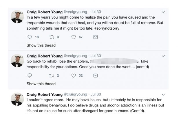 Craig Robert Young hit out at Ant McPartlin online