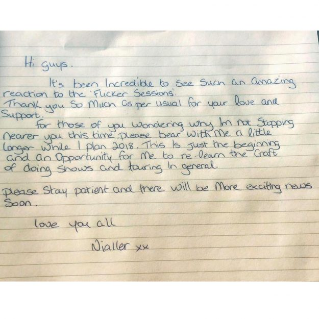 Niall wrote a heartfelt message to his fans