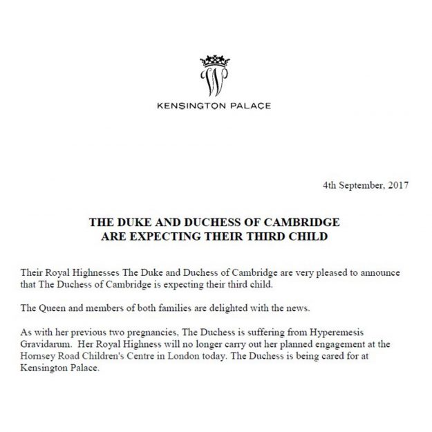 Kensington Palace confirmed the Duchess of Cambridge is pregnant with her third child