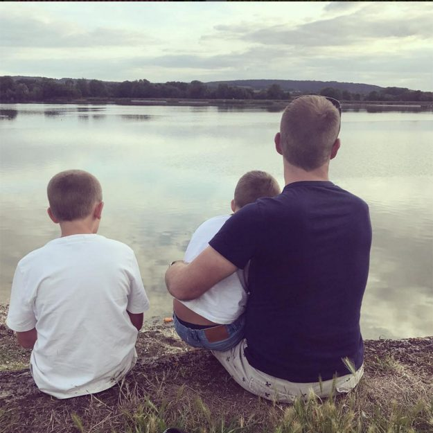 Bake Off contestant Steven uploaded this snap to Instagram saying: Perfect day with my babies #Spongecakesquaretin #gayunclesday.