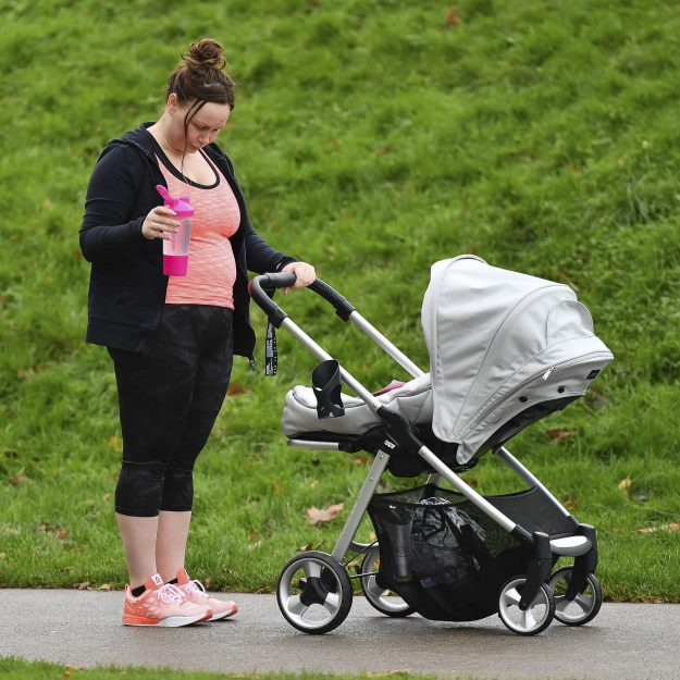 Big Brother star Chanelle Hayes spotted out in the park with her baby son Frankie exercising