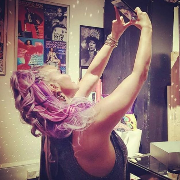Kerry Katona made sure to show off every angle of her purple hair