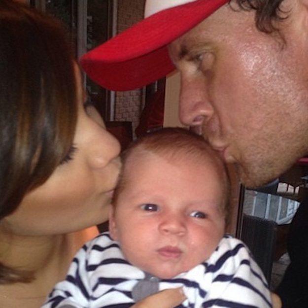Frankie Bridge and Wayne kiss baby Parker