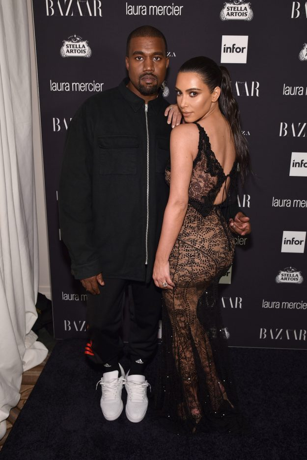 """Kanye West and Kim Kardashian West at Harper's Bazaar's celebration of """"CONS By Carine Roitfeld"""