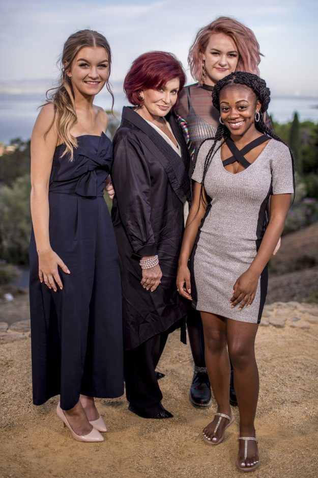 The X Factor: Sharon Osbourne with her three final chosen girls Grace Davies, Holly and Rai-Elle