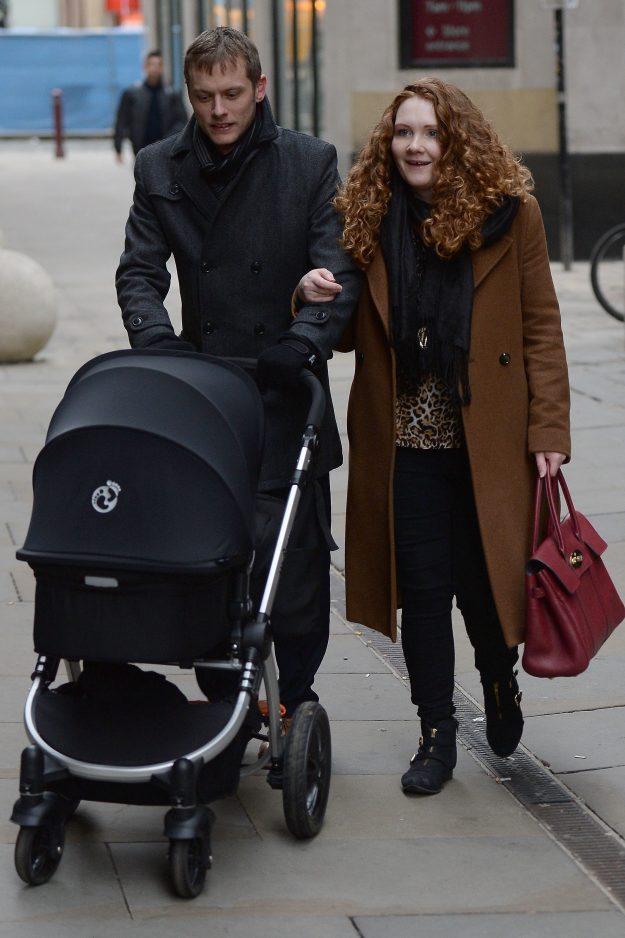 Jennie McAlpine and husband Chris Farr, pushing their son Albert