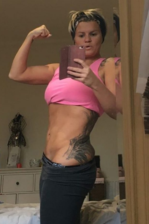 Kerry Katona showed off her toned stomach