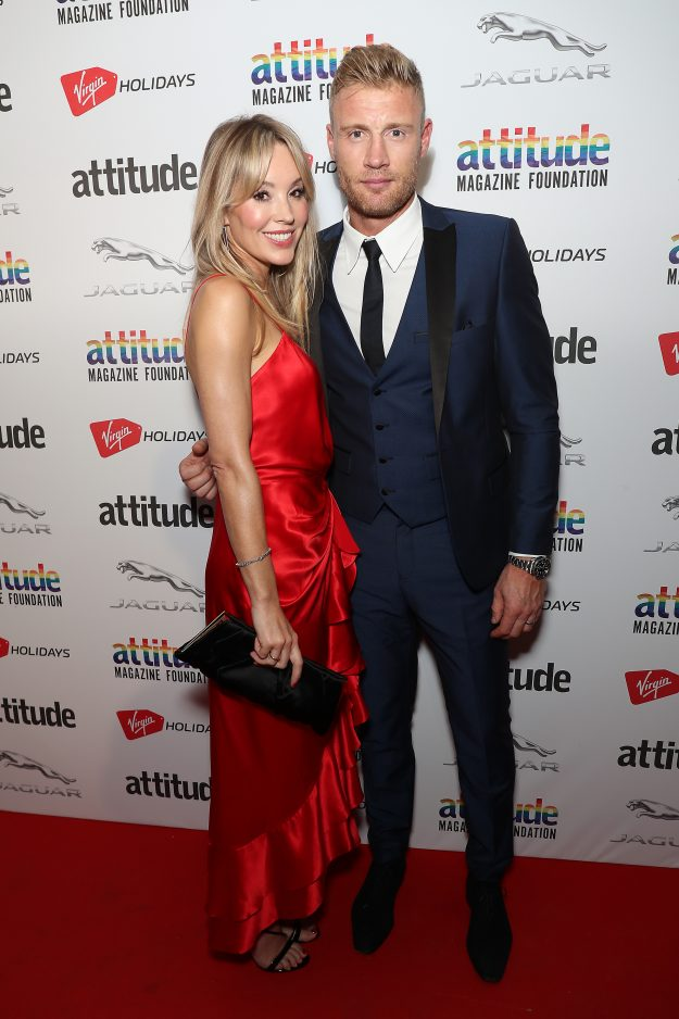 LONDON, ENGLAND - OCTOBER 11:  Andrew Flintoff and Rachel Flintoff attend The Virgin Holidays Attitude Awards at The Roundhouse on October 11, 2018 in London, England.  (Photo by Neil Mockford/WireImage)