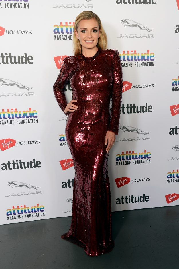 LONDON, ENGLAND - OCTOBER 11:  Katherine Jenkins poses in the winner's room at The Virgin Holidays Attitude Awards at The Roundhouse on October 11, 2018 in London, England.  (Photo by Dave J Hogan/Dave J Hogan/Getty Images)