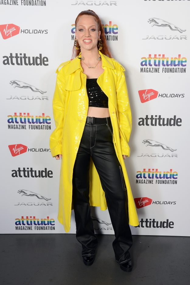 LONDON, ENGLAND - OCTOBER 11:  Winner of the 'Music' award, Jess Glynne poses in the winner's room at The Virgin Holidays Attitude Awards at The Roundhouse on October 11, 2018 in London, England.  (Photo by Dave J Hogan/Dave J Hogan/Getty Images)