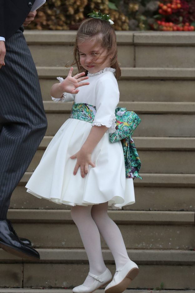 Princess Charlotte and the bridesmaids had green sashes around their waists