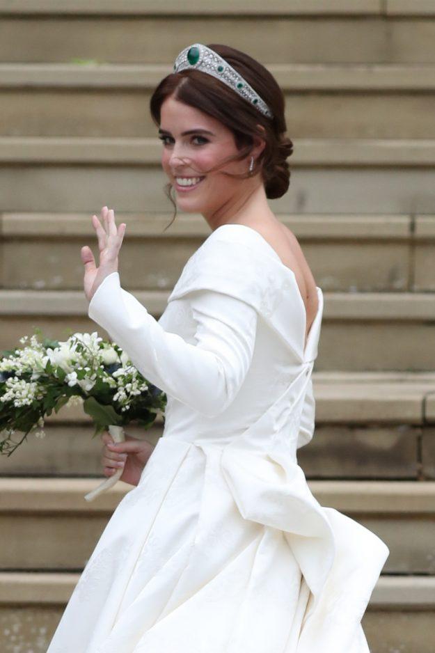 WINDSOR, ENGLAND - OCTOBER 12: Princess Eugenie arrives for her wedding to Jack Brooksbank at St George's Chapel, Windsor Castle on October 12, 2018 in Windsor, England. (Photo by Steve Parsons - WPA Pool/Getty Images)
