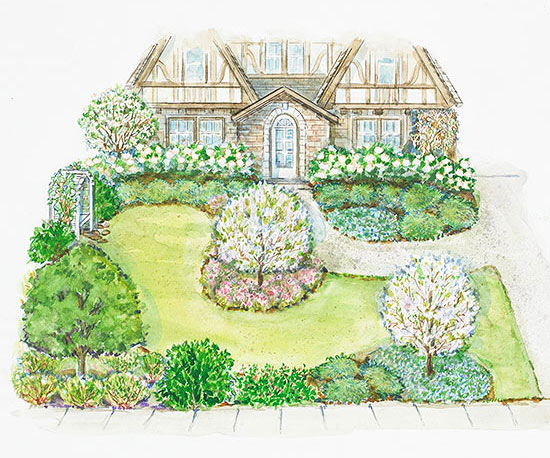 A Small Front Yard Landscape Plan | Better Homes & Gardens on Backyard Layout Planner id=62105