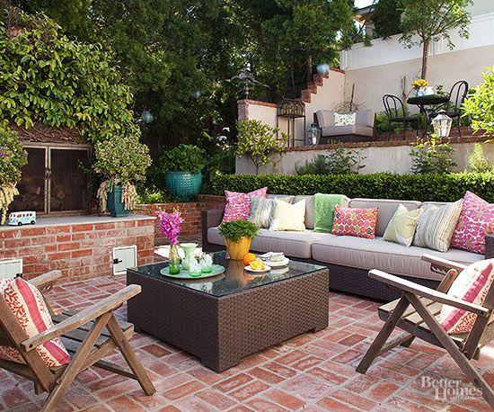 Mortared Brick Patio   Better Homes & Gardens on Backyard Brick Patio id=82976