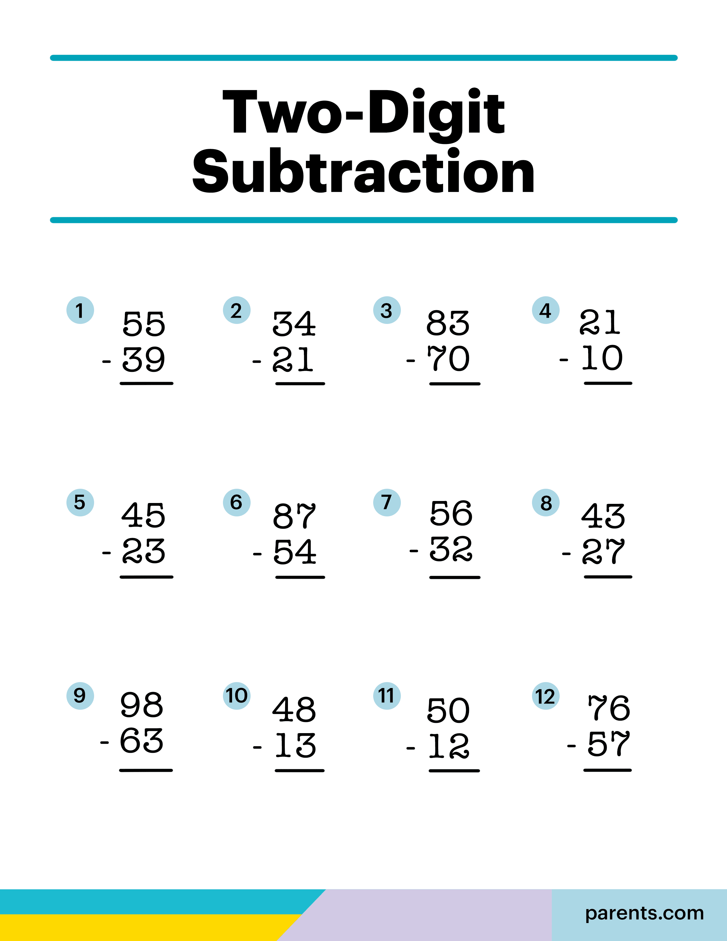 8 Subtraction Worksheets For First Through Third Graders