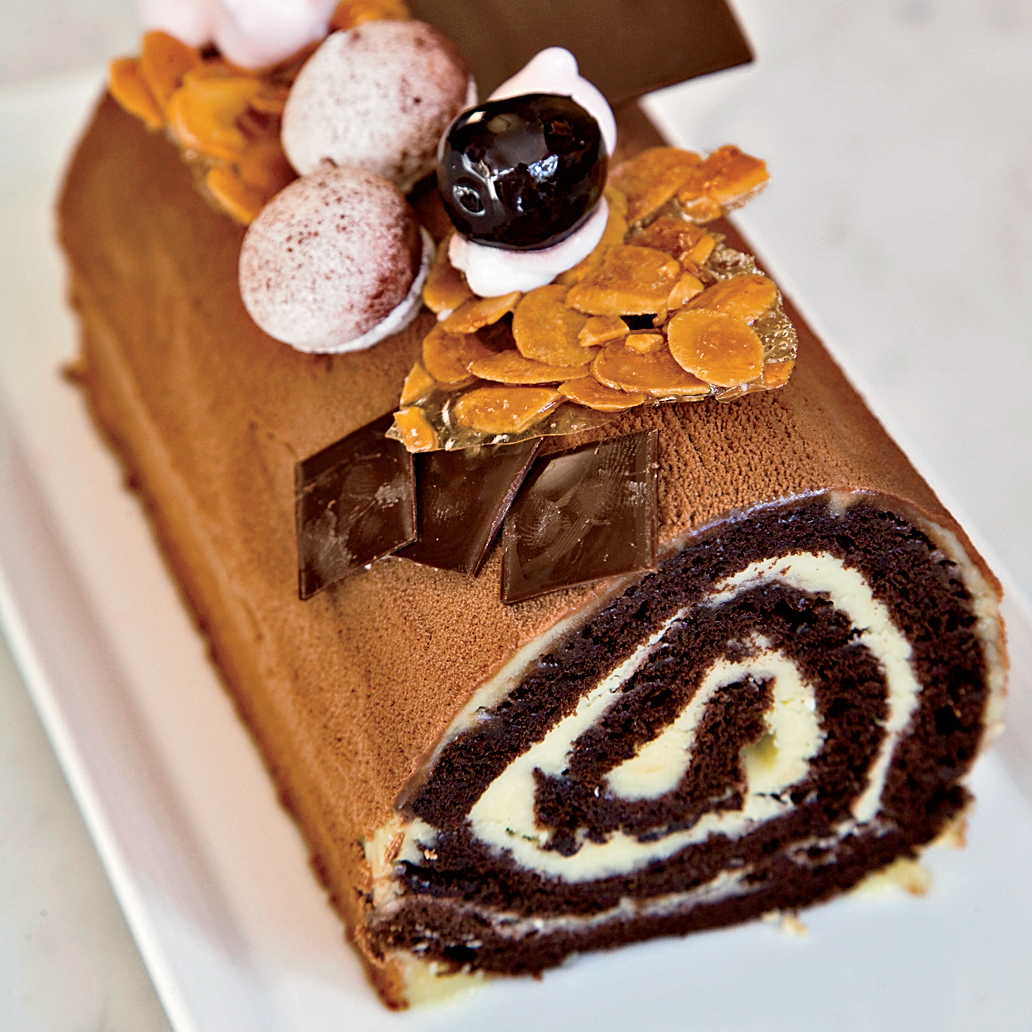 cherry and chocolate buche de noel