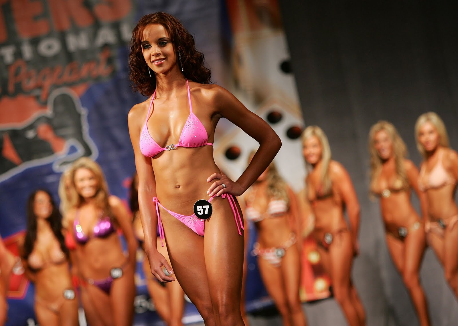 girls pageant Hooters swimsuit