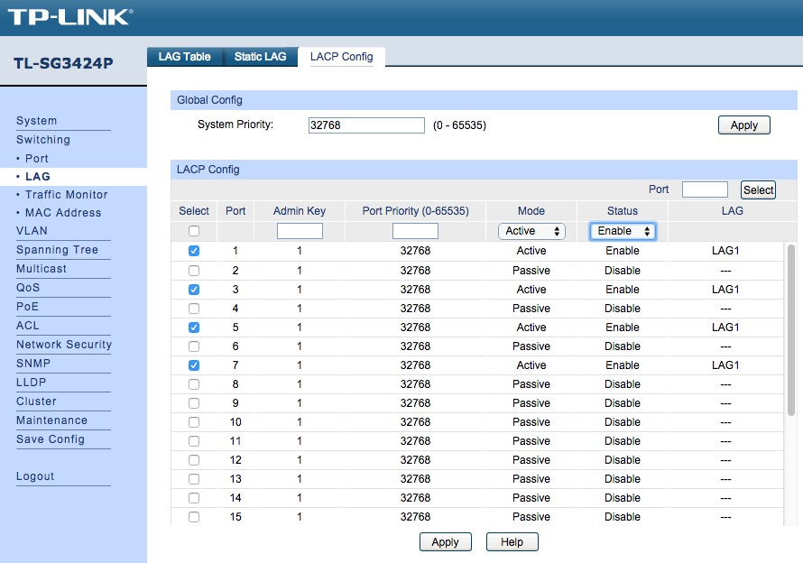 Synology Link Aggregation with TP-Link TL-SG3424P POE Switch