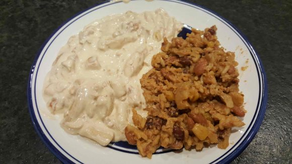Chicken Alfredo and Beans and Rice
