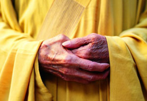 Buddhist monk with hands folded