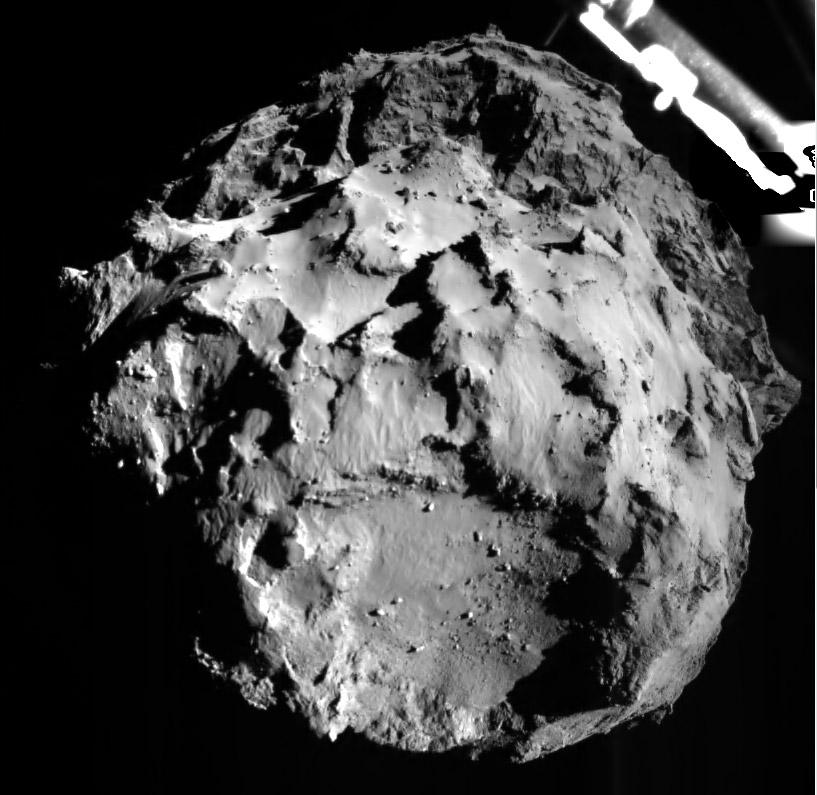 A leszállóhely, Agilkia a Philae fedélzeti kameréjával, mindössze 3 km magasságból
