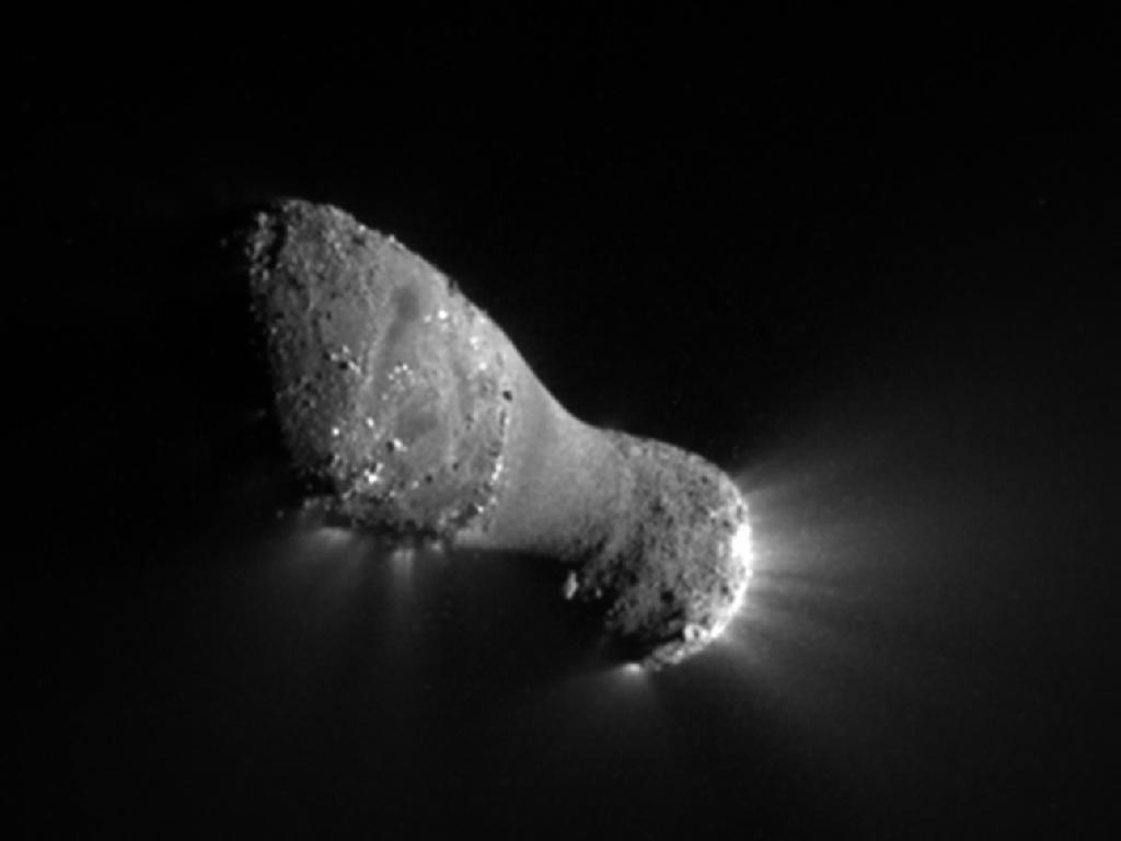 A Hartley-2 üstökös kiáramló gázcsóvákkal