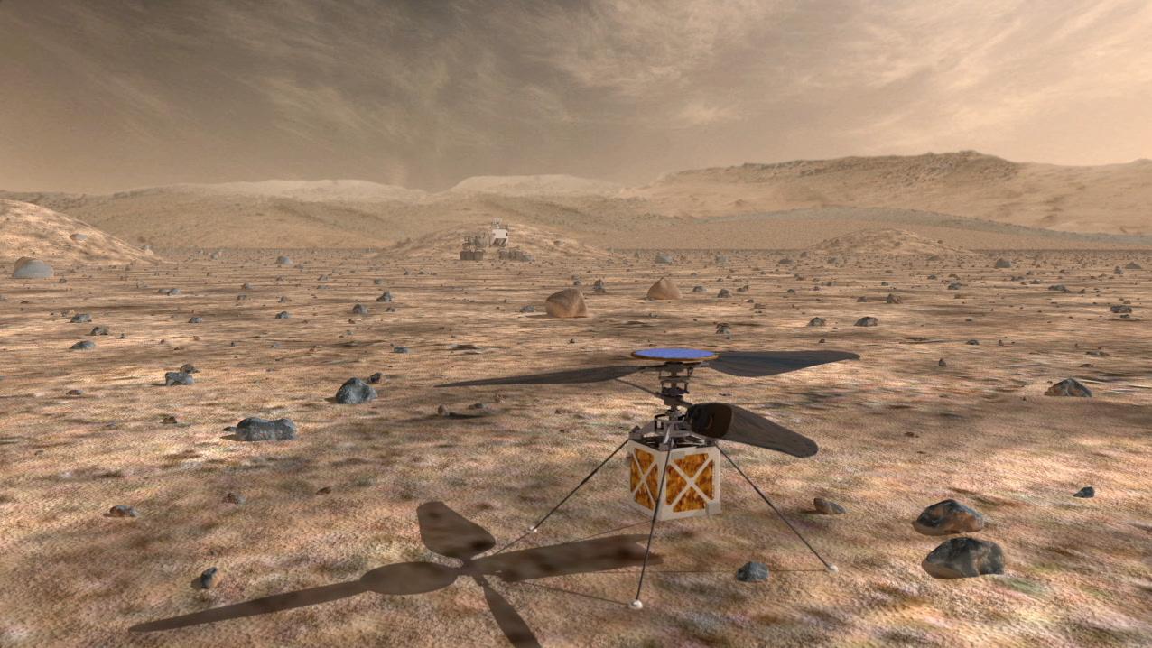 A jelenlegi tervek szerint nagyjából így fest majd a marsi minihelikopter