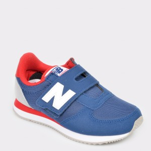 Pantofi sport NEW BALANCE albastri, Pv220, din piele ecologica, baieti