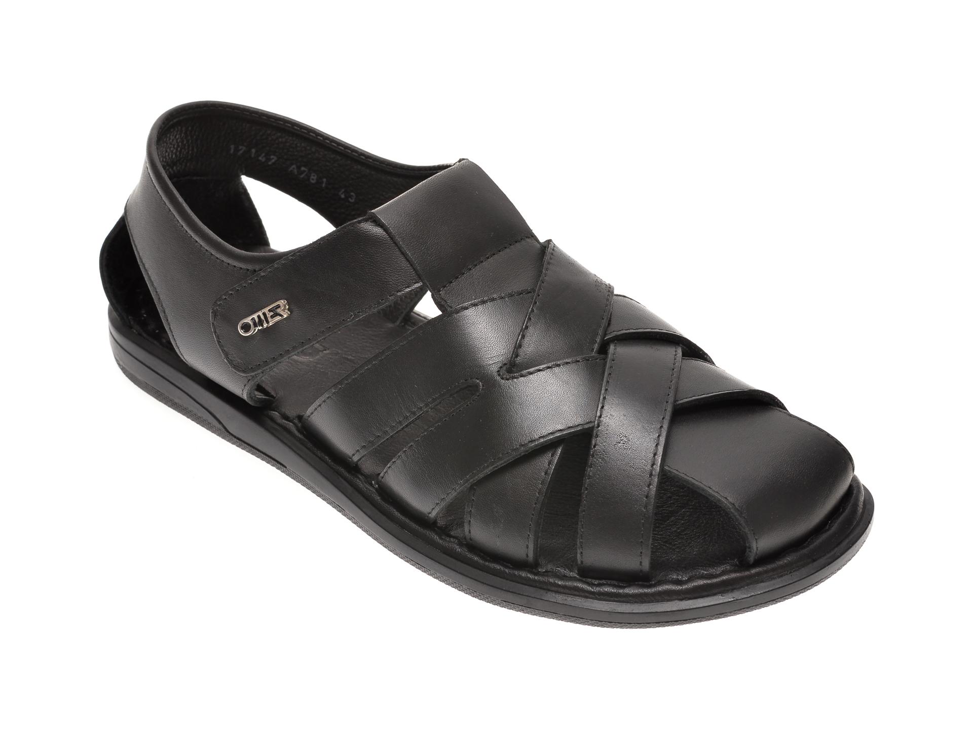 Sandale OTTER negre, 17147, din piele naturala