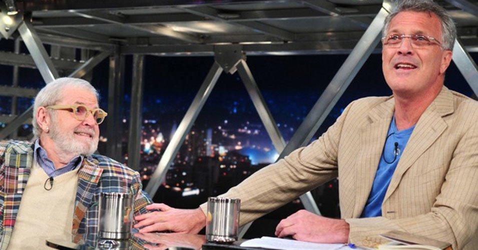 Jô Soares e Pedro Bial na Globo (Foto reprodução: Globo)