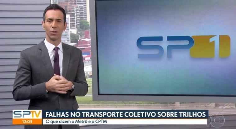 César Tralli no comando do SP1 da Globo (Foto: Reprodução)