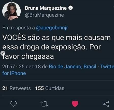 Bruna Marquezine responde para fã de Neymar (Foto: Reprodução/Twitter)