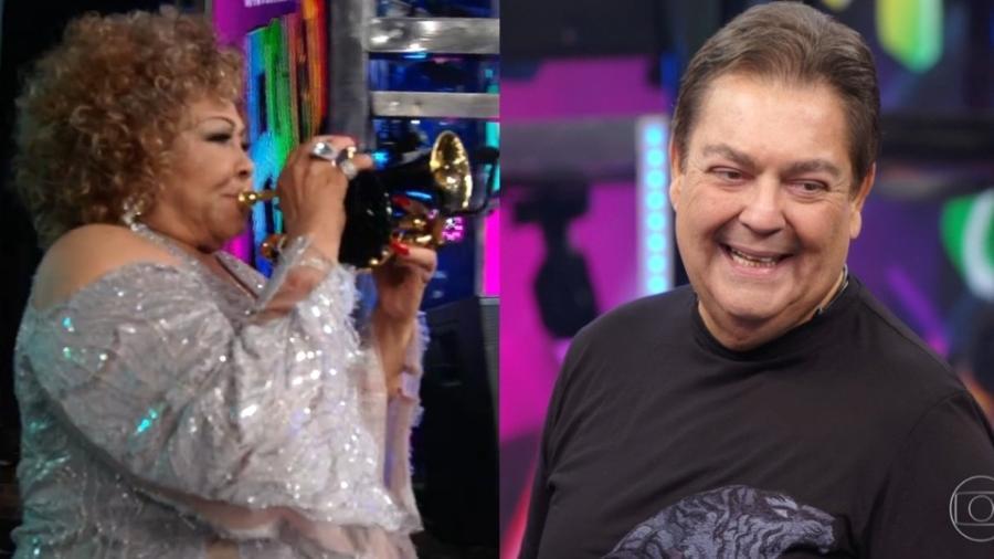 Alcione entrou no palco do programa tocando trompete (Foto: TV Globo)