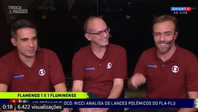 Gustavo Villani e seus companheiros no Troca de Passes (Foto: Reprodução)