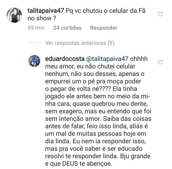 Eduardo Costa tenta se defender de acusação