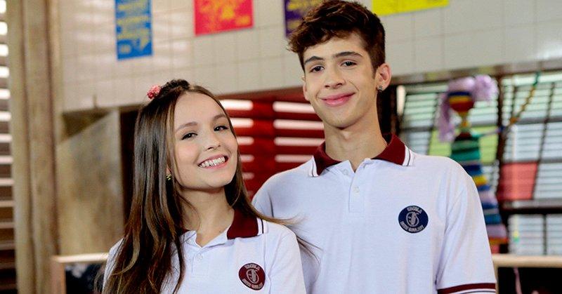 Os atores Larissa Manoela e João Guilherme interpretam Mirela e Luca Tuber na trama do SBT As Aventuras de Poliana (Foto: Reprodução/SBT)