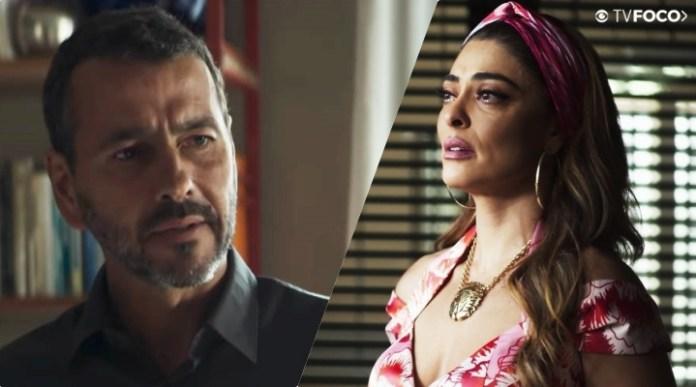 Amadeu (Marcos Palmeira) e Maria da Paz (Juliana Paes) são os protagonistas de A Dona do Pedaço da Globo
