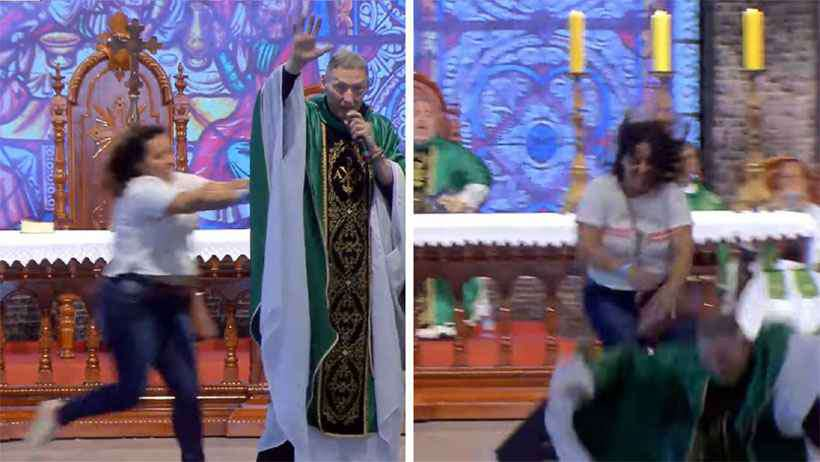 Marcelo Rossi foi agredido por uma mulher durante uma missa (Foto: Reprodução)