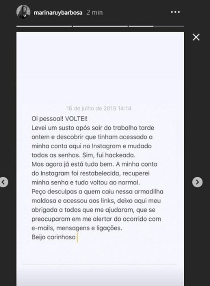 Marina Ruy Barbosa é vítima de criminosos, fica exposta ao perigo e desabafa na internet