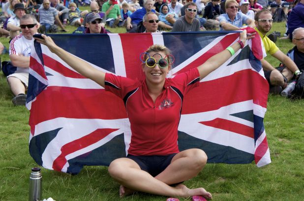 A fan enjoys the atmosphere at Box Hill
