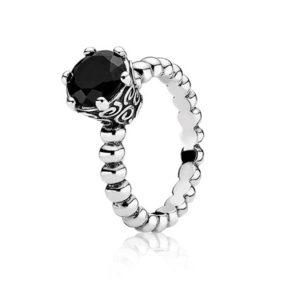 Black Spinel And Silver Bubble Ring PANDORA 190851ME