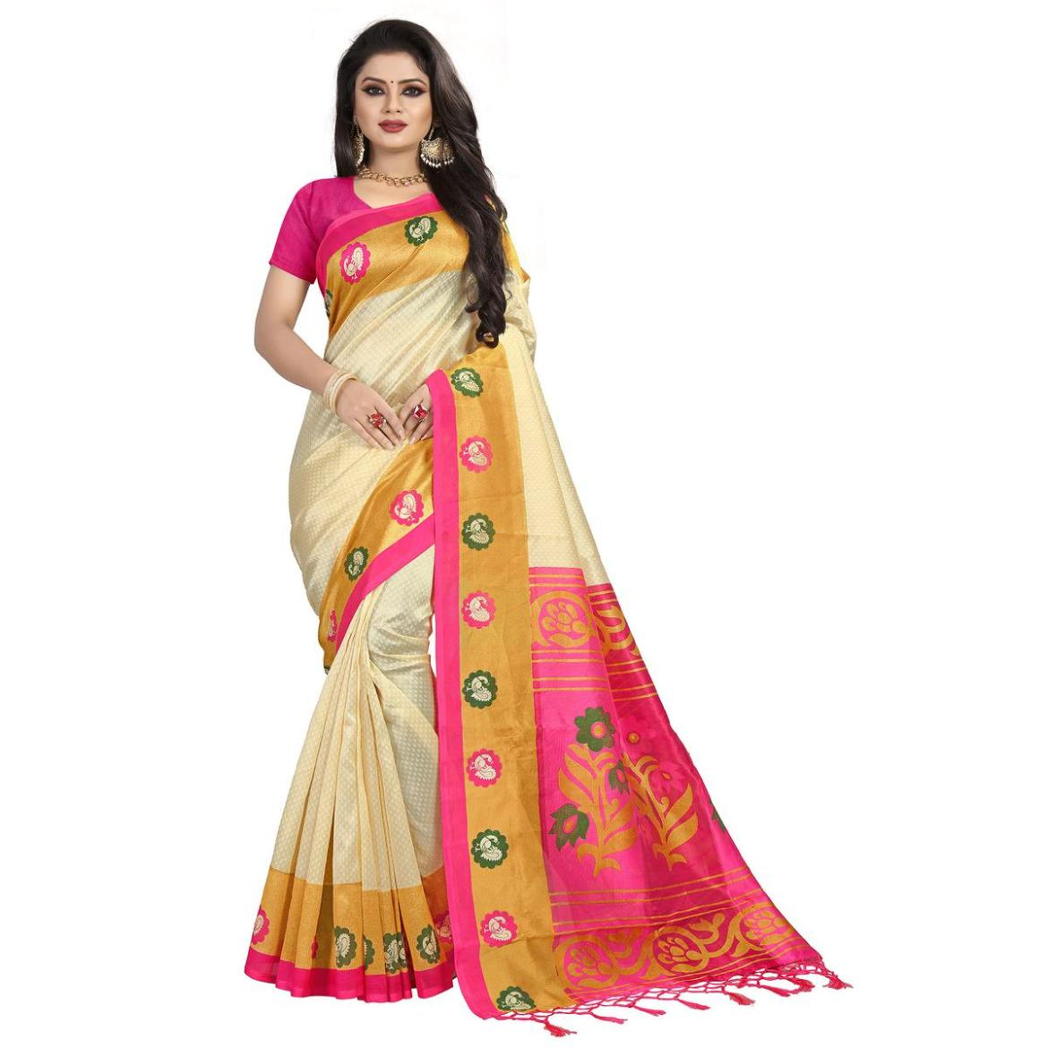 Engrossing Cream-Pink Colored Festive Wear Mysore Silk Saree With Tassels