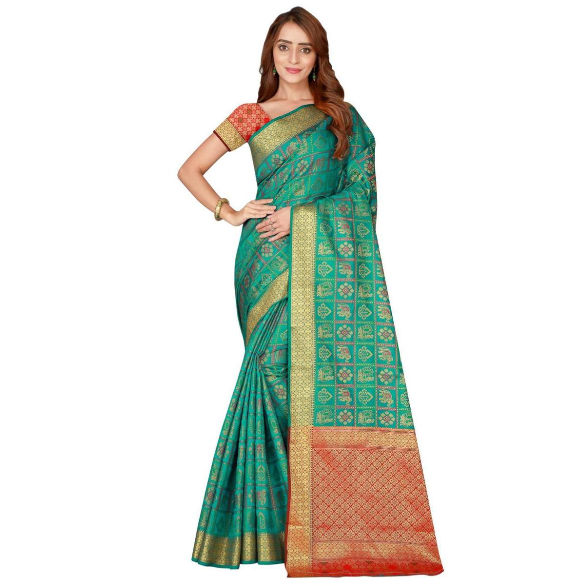 Engrossing Turquoise Green Colored festive Wear silk Saree
