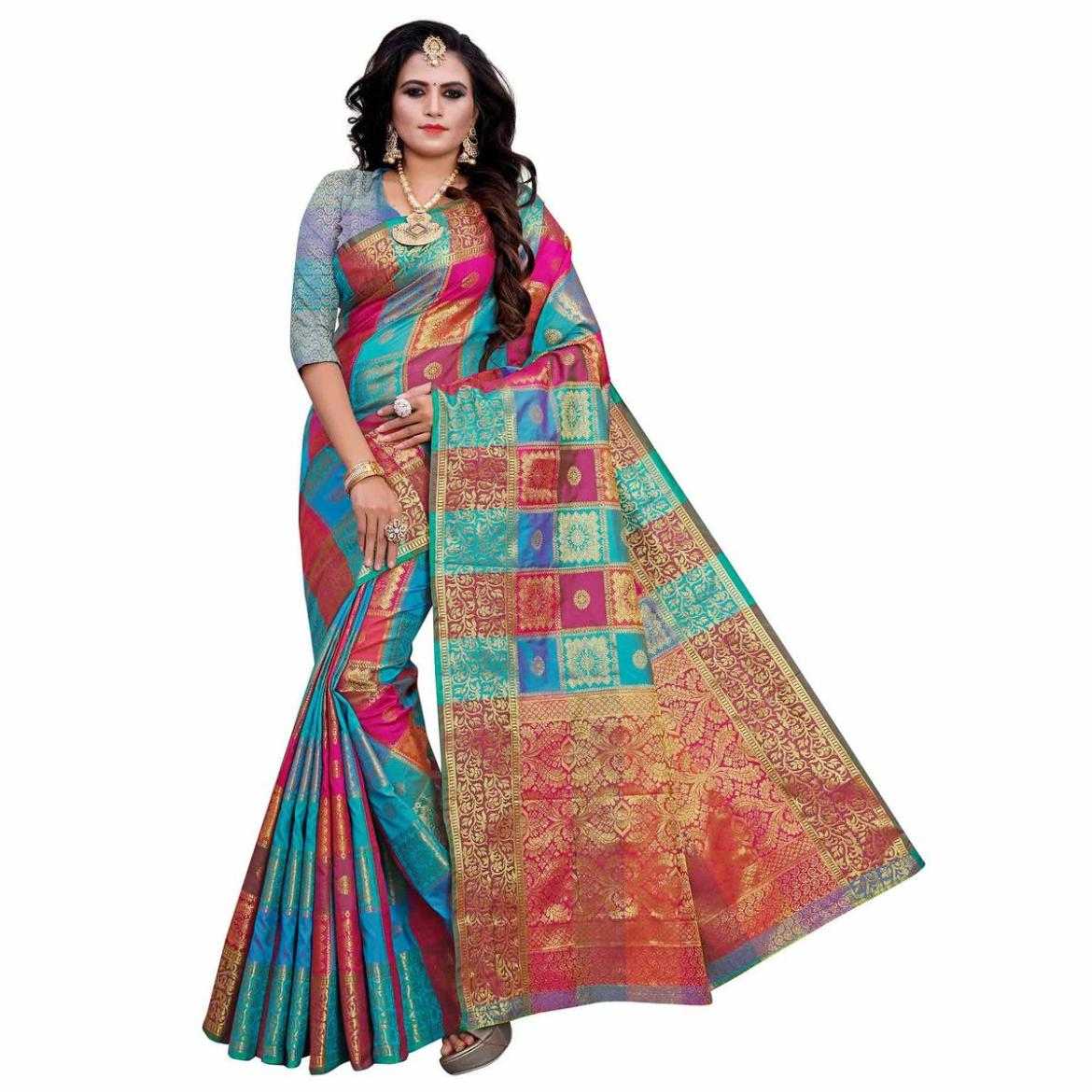 Exotic Blue-Multi Colored Festive Wear Woven Work Art Silk Saree