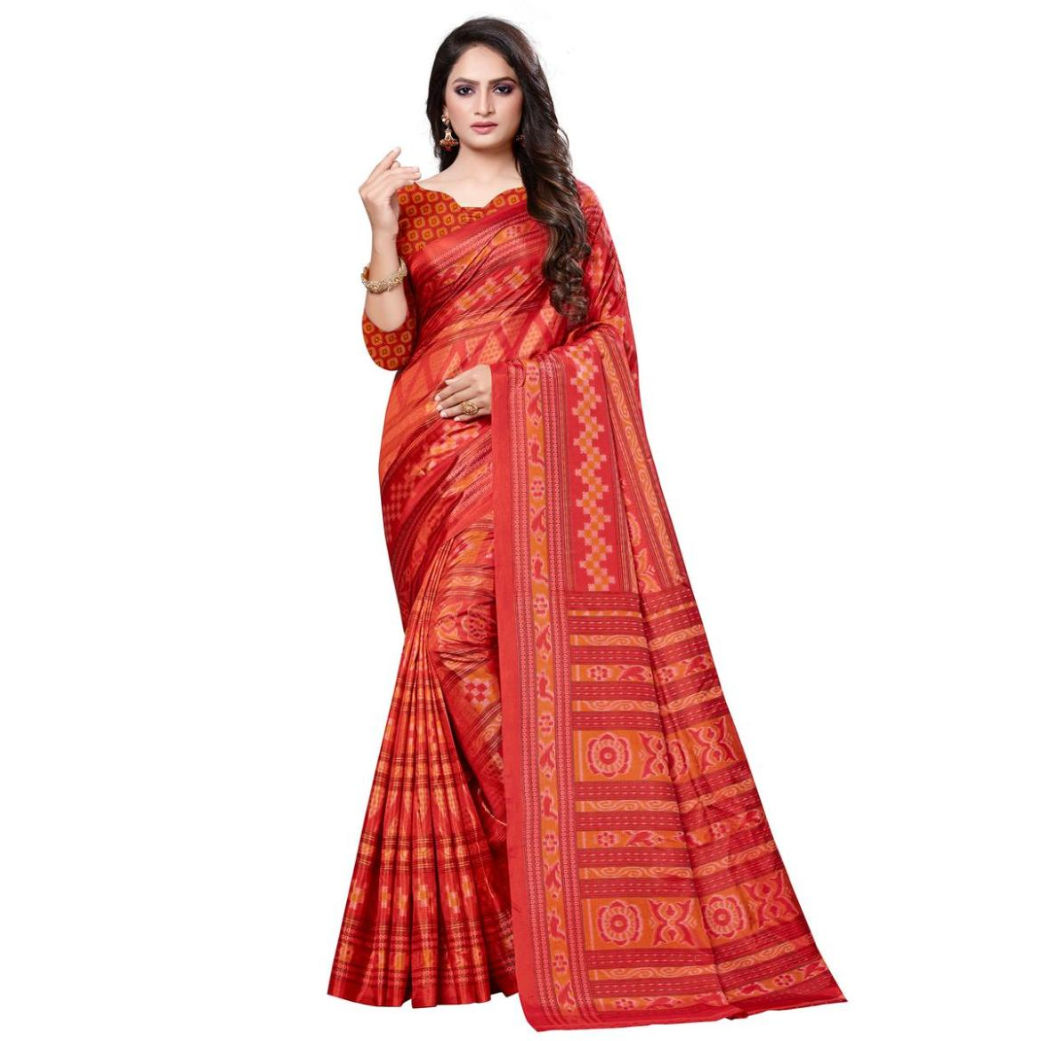 Exclusive Red Colored Casual Printed Art Silk Saree