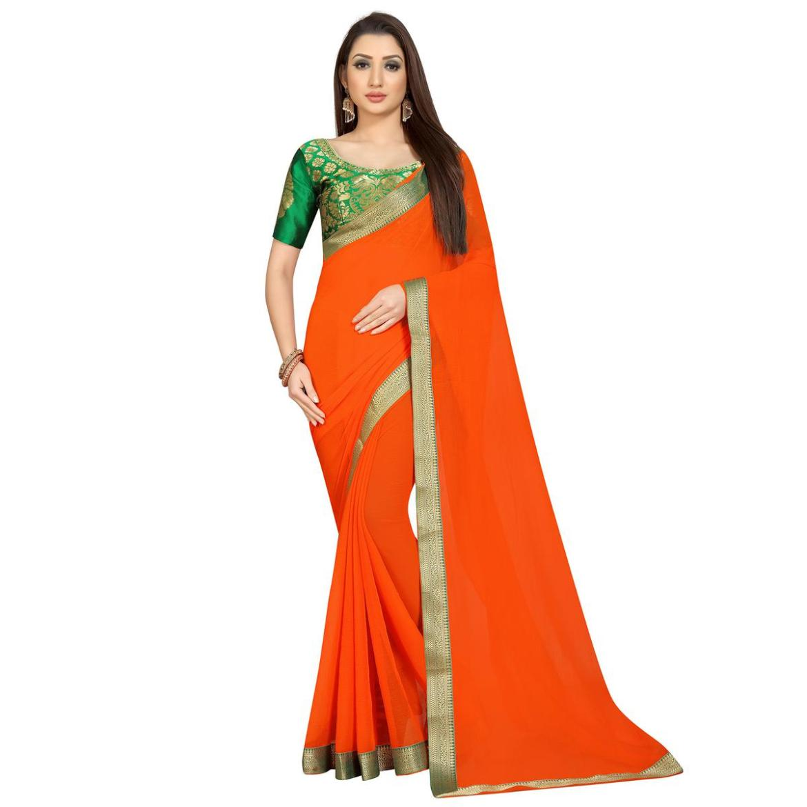 Energetic Orange Colored Partywear Chiffon Saree