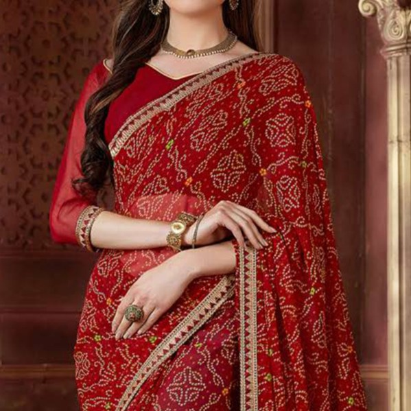 Buy Trendy Maroon Colored Casual Wear Bandhani Printed Georgette Saree for women's wear online India, best prices, affordable prices, best price online, Reviews - Peachmode