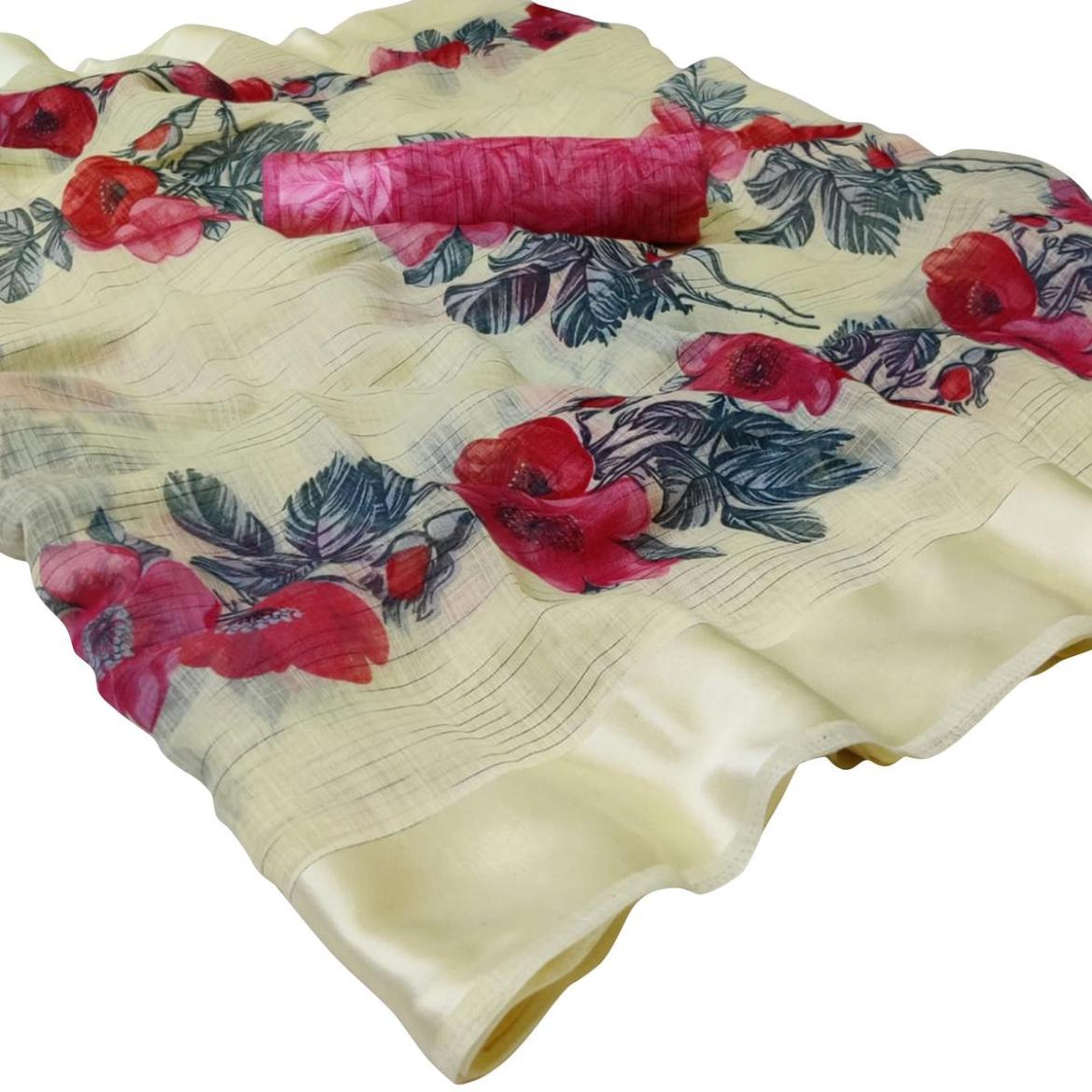 Elegant Light Yellow Colored Casual Wear Floral Printed Linen Saree